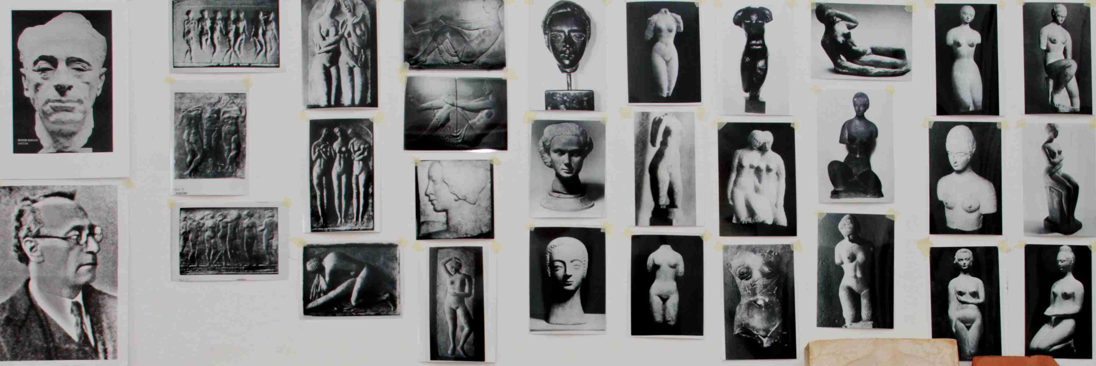 Fotos von Kogan, verschiedener Werke von Kogan und der Büste von Breker