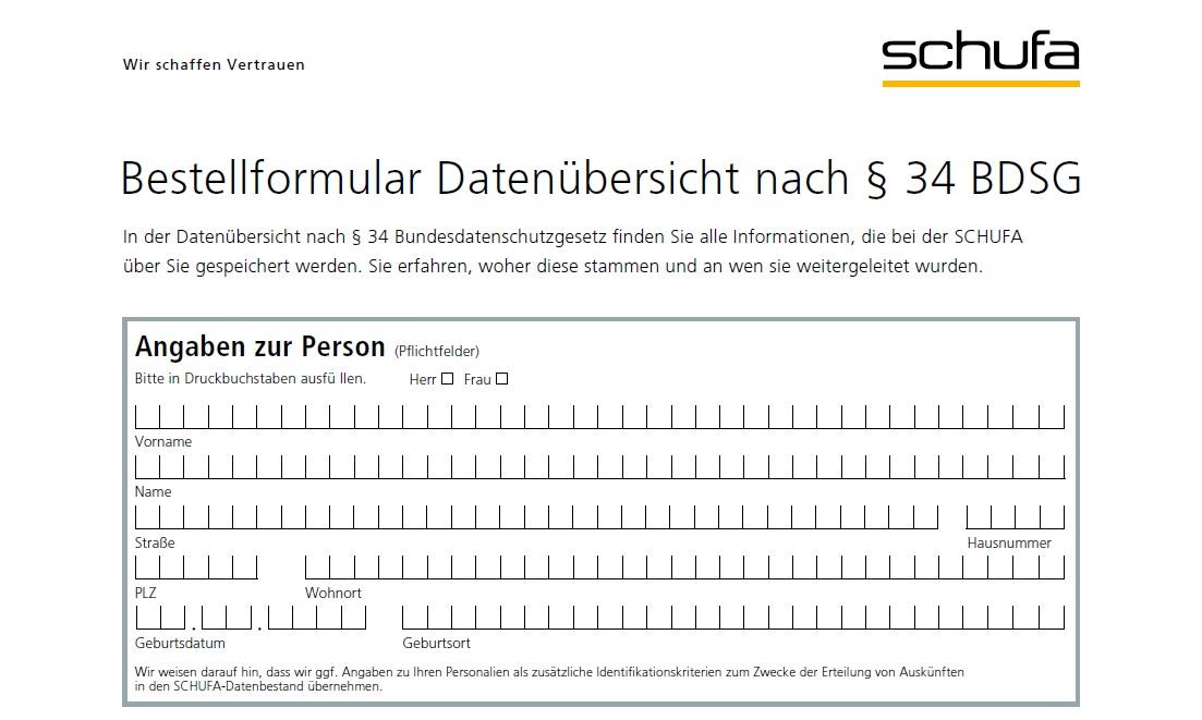 Bestellformular Datenübersicht nach § 34 BDSG
