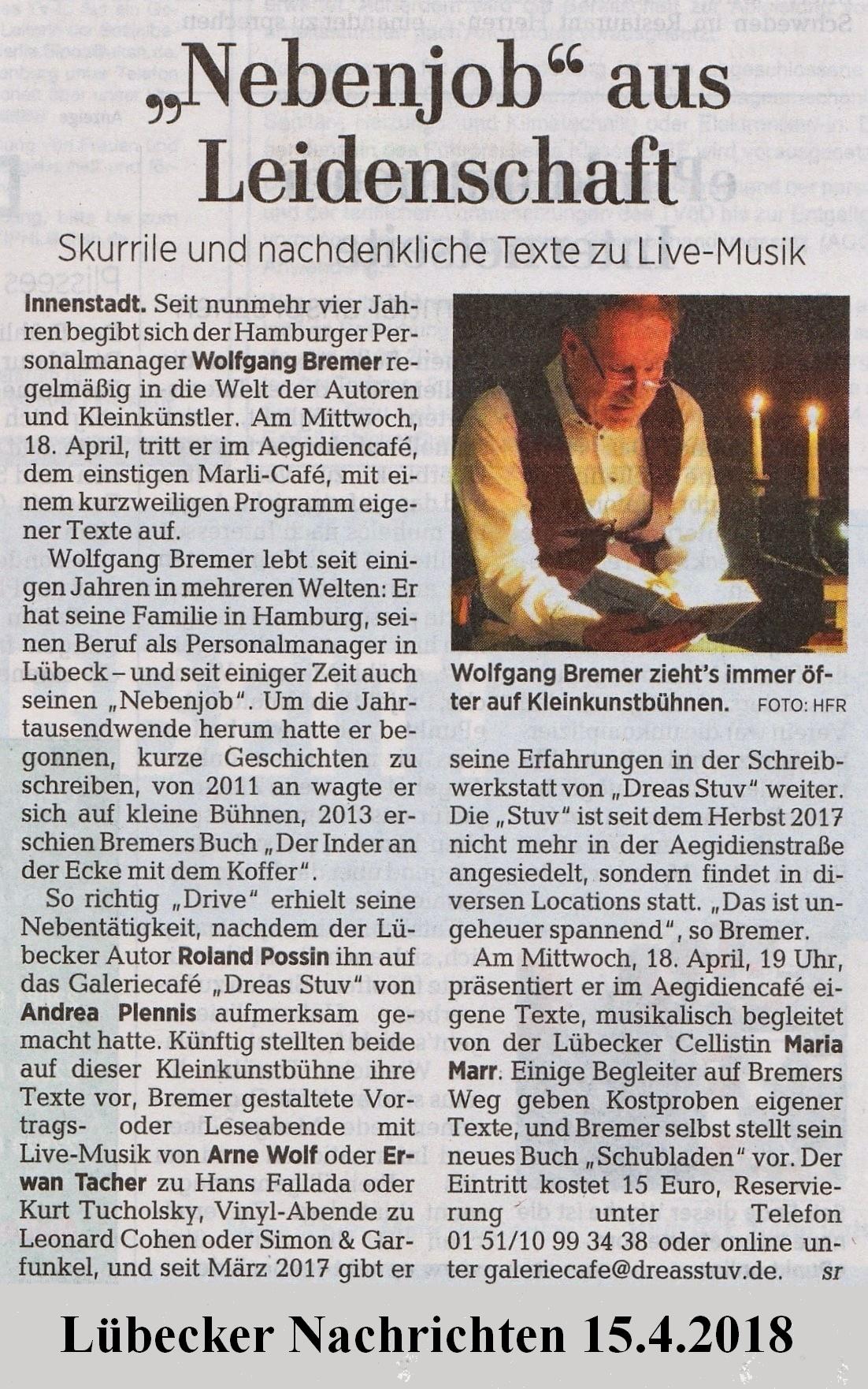 Artikel in den Lübecker Nachrichten am 15. April 2018