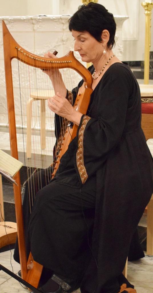 Jutta Haaf (Harfe), Freiburger Spielleyt, 03.11.2017, St. Fridolin, Lörrach-Stetten