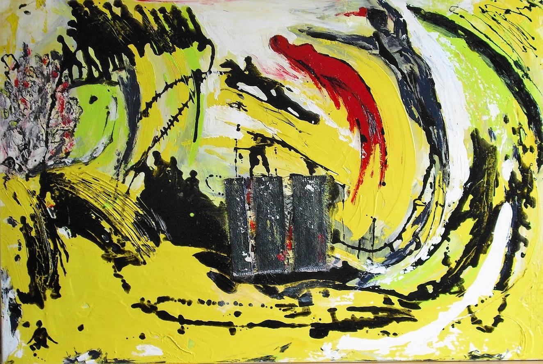 Bild No 475 Flucht Acrylmischtechnik auf Leinwand 160cm x 100 cm